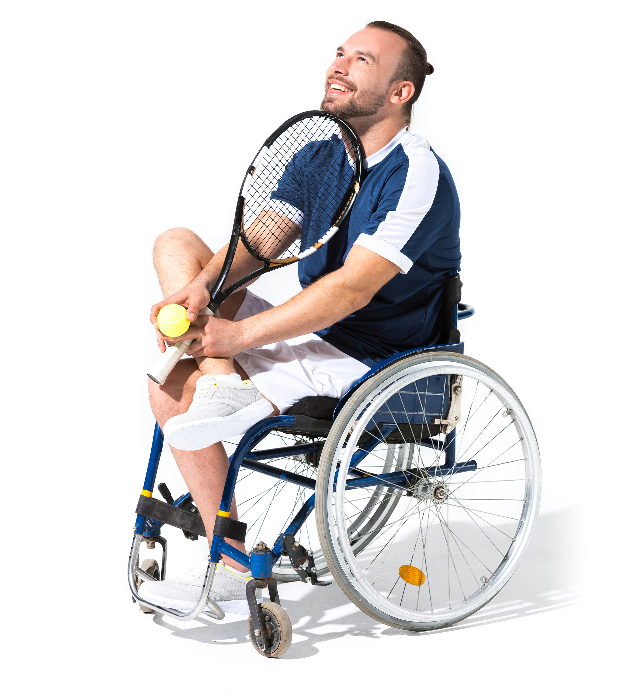 Tetraplegic with tennis racket and ball