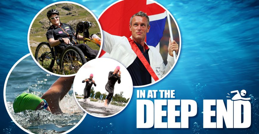 In at the Deep End 2020 banner, featuring pictures of Mark Foster, swimmers in wetsuits at the Eton Dorney Lake and someone who has become tetraplegic in a sporting accident