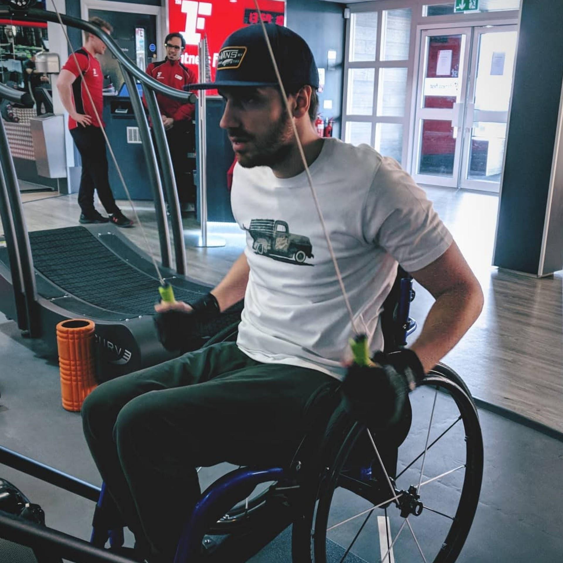 Ben Clark, tetraplegic swimmer, training at the gym for his 10km swim