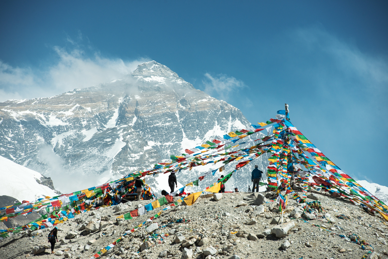 Prayer flags on Mount Everest in the Nepalese Himalayas